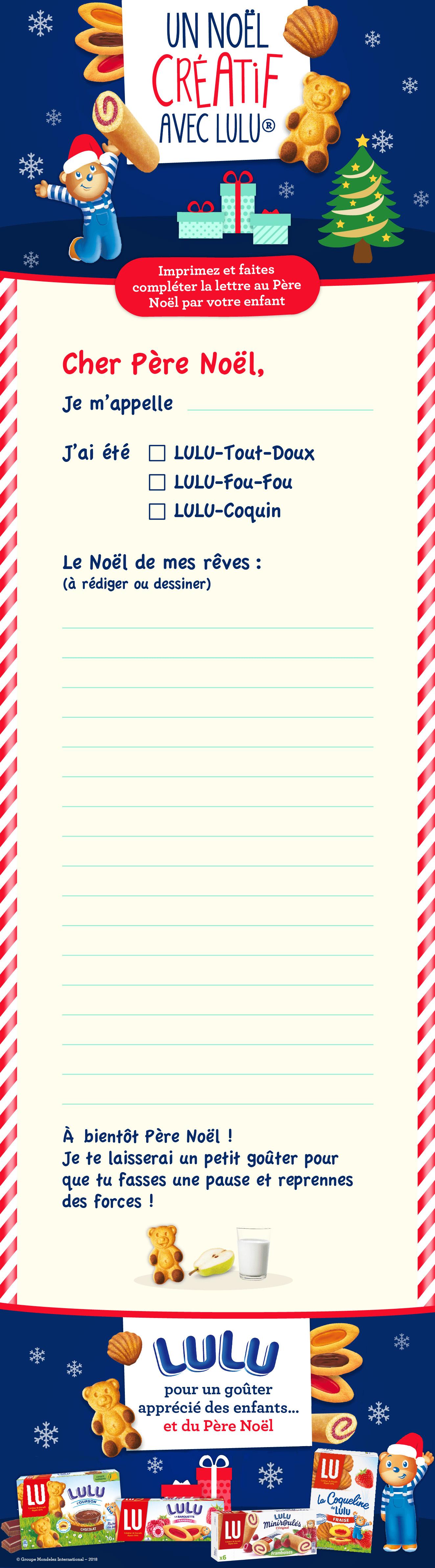 Site Lettre Au Pere Noel.Un Modele De Lettre Au Pere Noel A Imprimer Avec Lulu