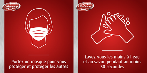 Gestes barrières Lifebuoy masque lavage des mains protection virus microbes