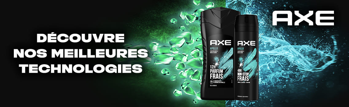The New AXE Effect nouvelle technologie anti-odeurs Axe Dual Action déodorant.