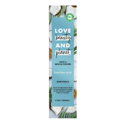 Dentifrice Love Beauty and Planet Naturel Blancheur Eclat Huile Coco Menthe Vegan