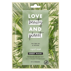 masque tissus visage détox Love Beauty and Planet arbre à thé vétiver purifiant vegan