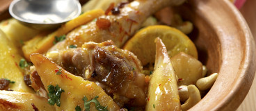 Tagine de poulet au citron, poires et fruits secs